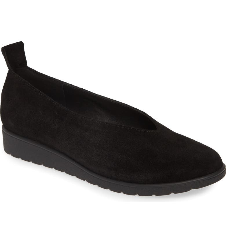 EILEEN FISHER Humor Flat, Main, color, BLACK SUEDE