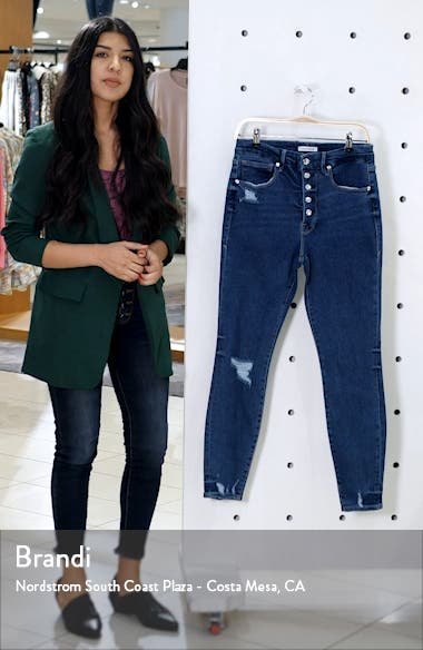 Good Waist Ripped Exposed Button Ankle Skinny Jeans, sales video thumbnail