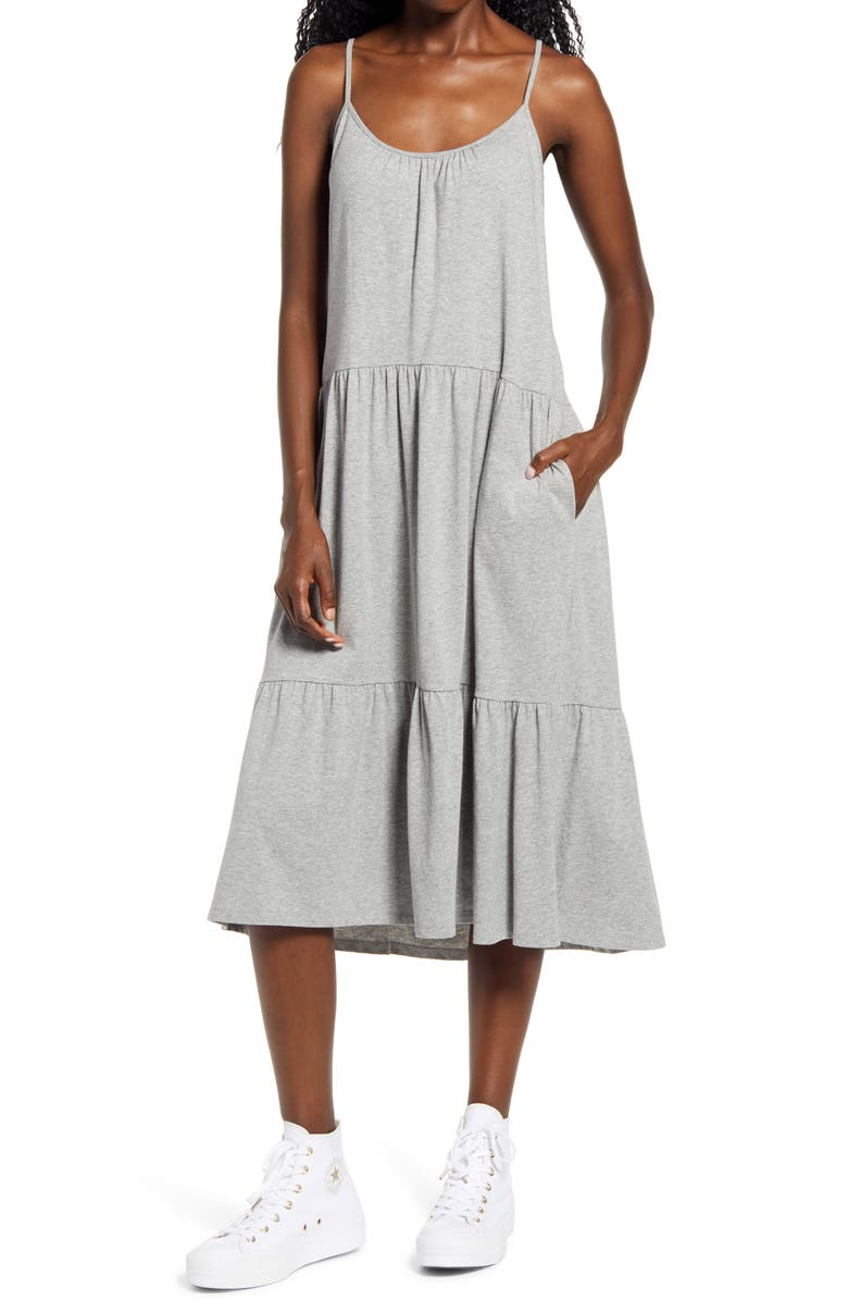 ALL IN FAVOR Tiered Jersey Dress, Main, color, H GREY