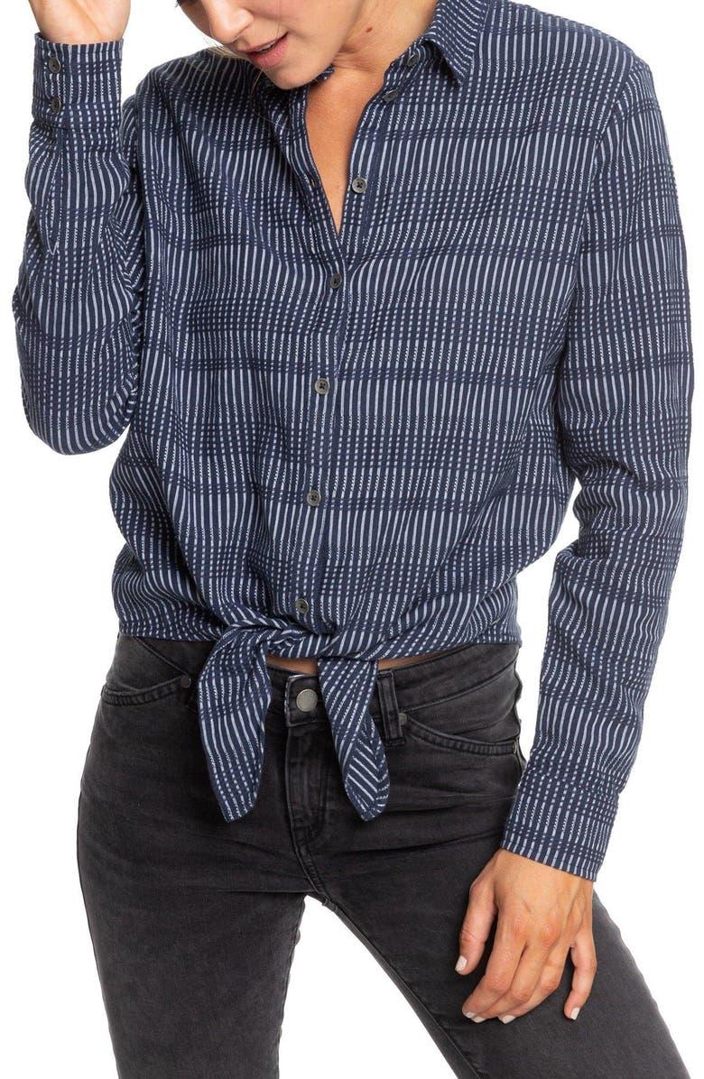 ROXY Suburb Vibes Jacquard Shirt, Main, color, MOOD INDIGO