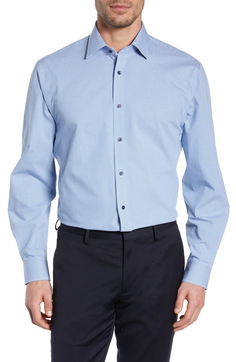 NORDSTROM MEN'S SHOP Tech-Smart Traditional Fit Check Stretch Dress Shirt, Main, color, BLUE EUROPE