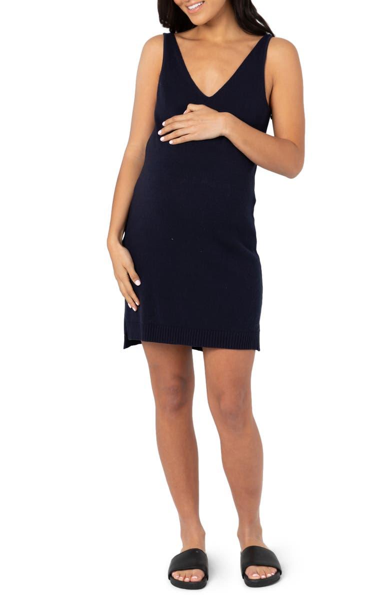 LEGOE. V-Neck Knit Maternity/Nursing Dress, Main, color, NAVY
