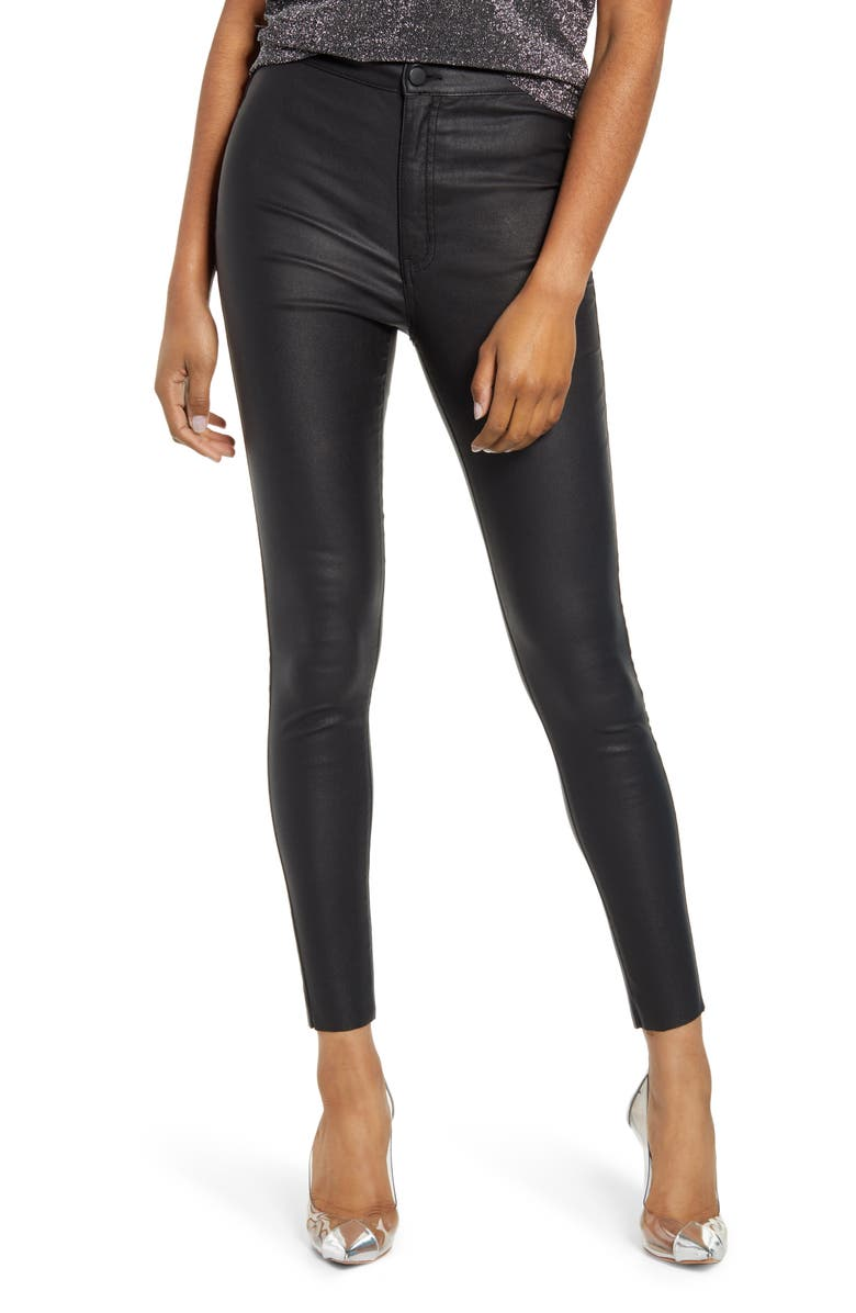 TINSEL Coated High Waist Skinny Jeans, Main, color, BLACK