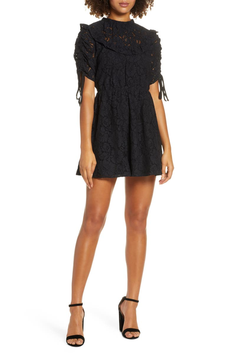 ALI & JAY Afterglow Lace Minidress, Main, color, BLACK