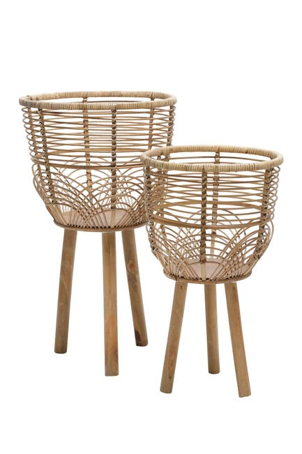 "Image of SAGEBROOK HOME Wicker Planters 10/12"" - Natural - Set of 2"