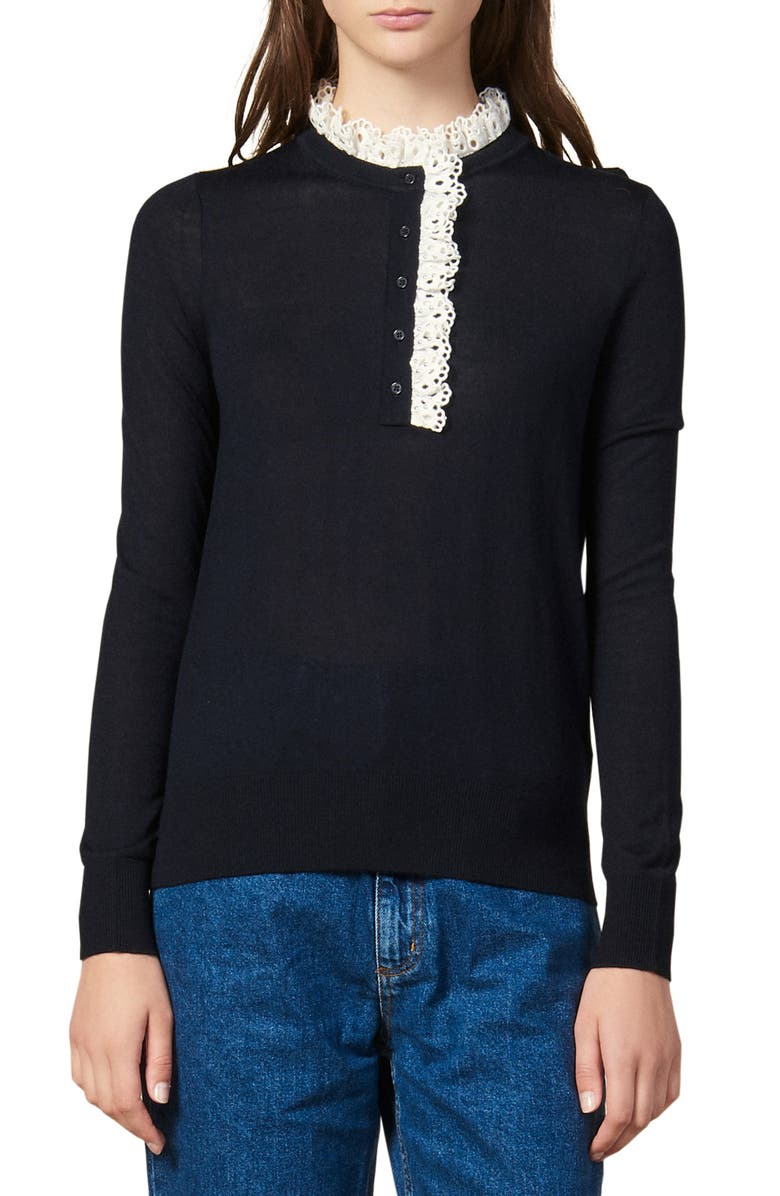 SANDRO Colane Eyelet Detail Wool Blend Sweater, Main, color, NAVY