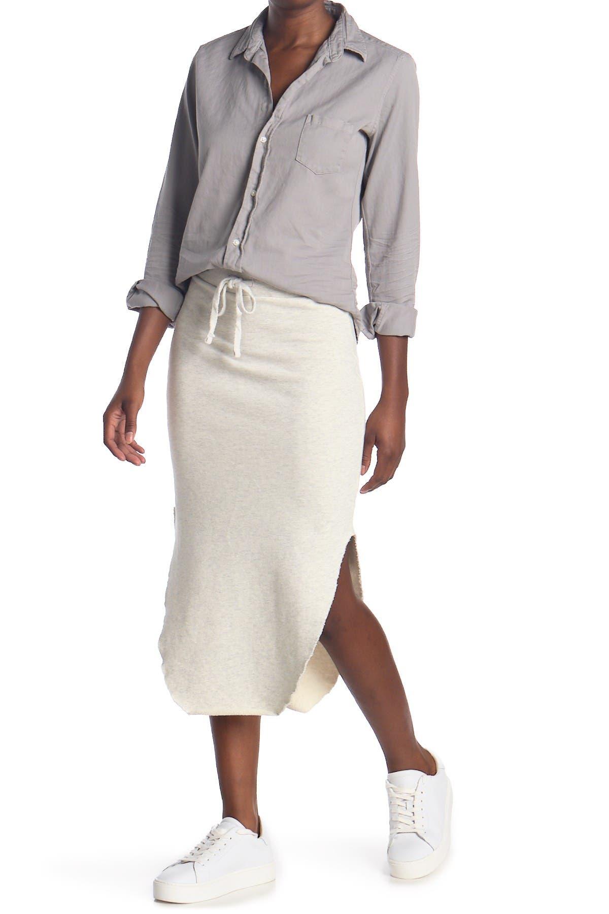 Image of FRANK & EILEEN Curved Hem Fleece Midi Skirt