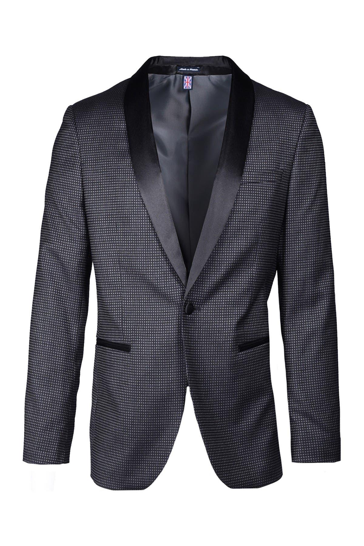 Image of SAVILE ROW CO Black Dot Satin Shawl Collar Slim Fit Evening Jacket