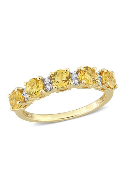 Image of Delmar 18K Yellow Gold Plated Sterling Silver Circle Cut Citrine & White Topaz Eternity Ring