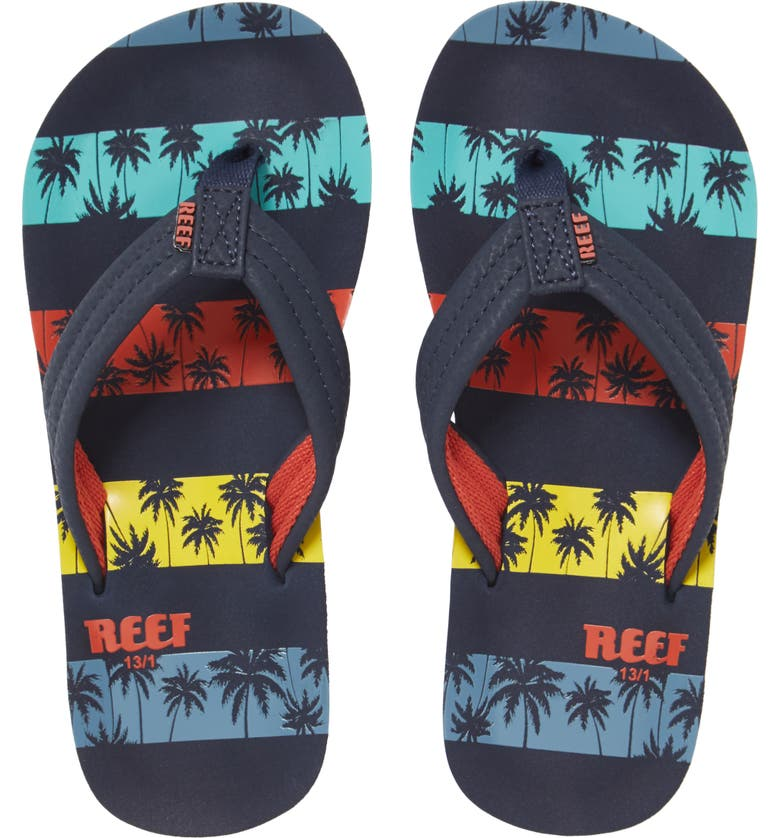 REEF Ahi Flip Flop, Main, color, NAVY PALMS STRIPE