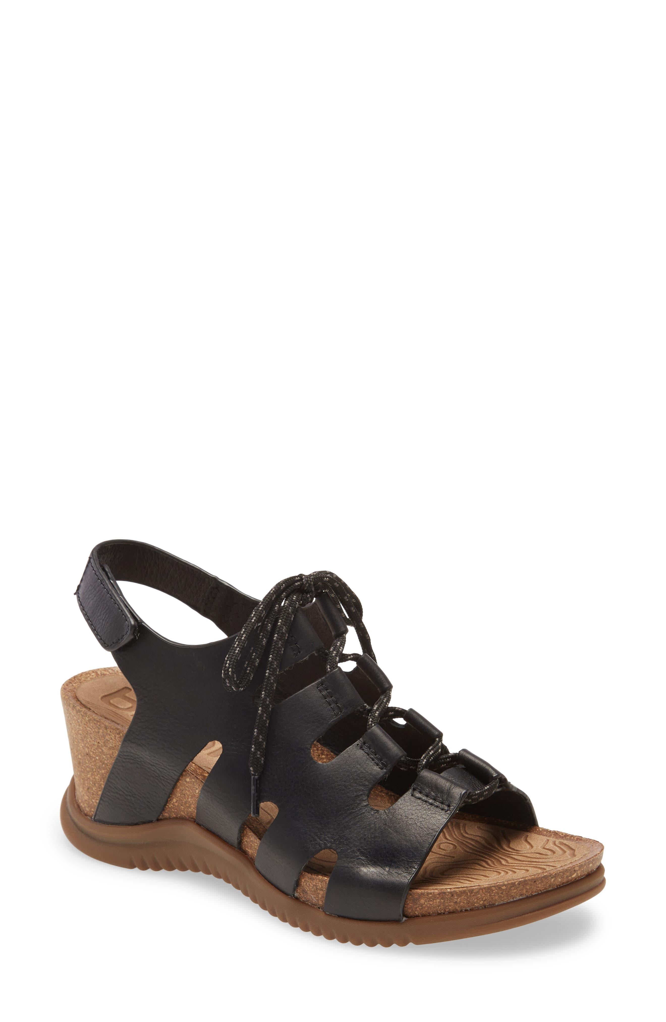 Women's Bionica Sorena Ghillie Wedge Sandal, Size 8.5 M - Black