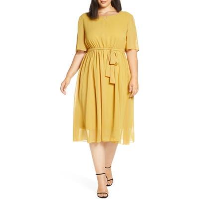Plus Size Chi Chi London Curve Amanya Belted Chiffon Cocktail Dress, Yellow