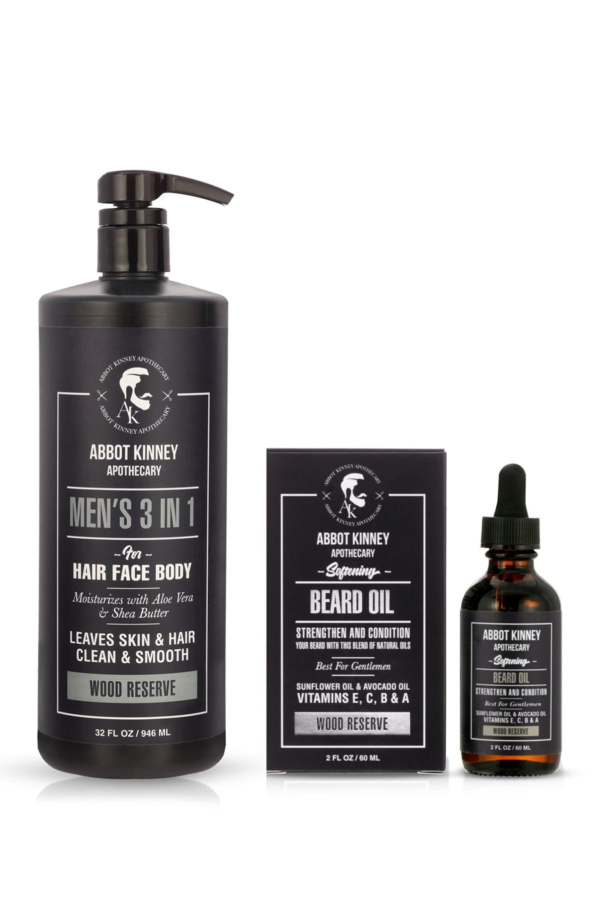 Image of Abbot Kinney Apothecary The Ultimate Men's Grooming Set in Wood Reserve Fragrance - 3in1 Hair, Face, Body Wash and Beard Oil Set
