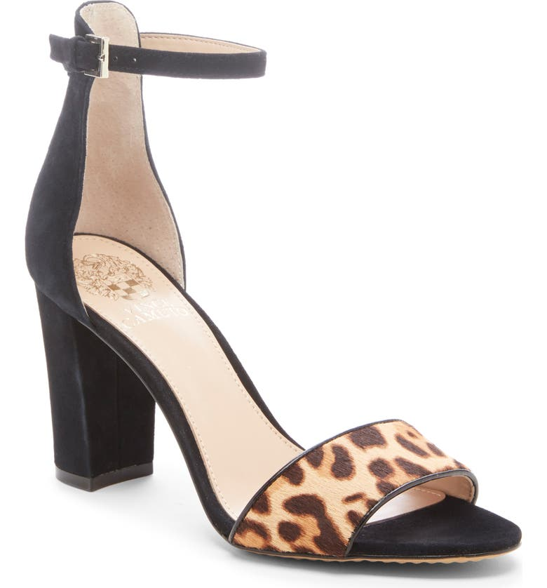 VINCE CAMUTO Corlina Ankle Strap Sandal, Main, color, BLACK/ NATURAL CALF HAIR