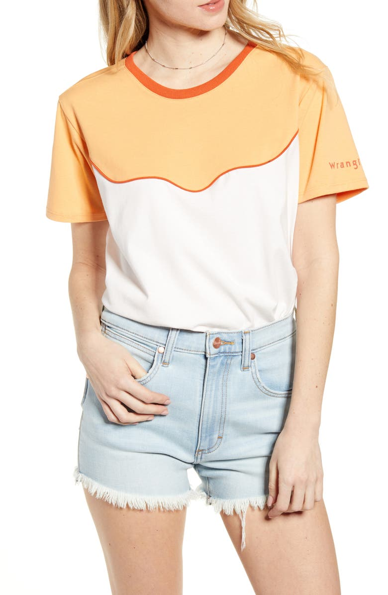 WRANGLER Piped Yoke Boxy Tee, Main, color, LIGHT/ PASTEL PINK