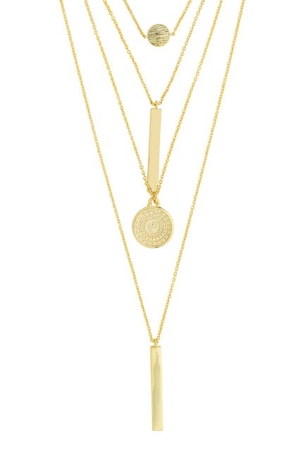 Image of Sterling Forever 14K Gold Plated Mixed Pendant Layered Multi Strand Necklace