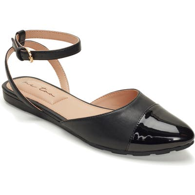 Me Too Antonia Ankle Strap Flat- Black