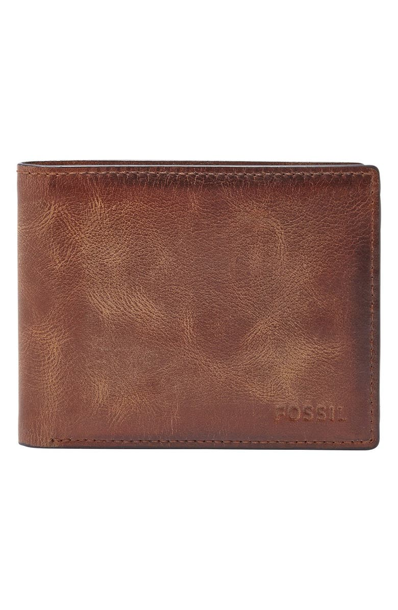 FOSSIL 'Derrick' RFID Leather Bifold Wallet, Main, color, BROWN