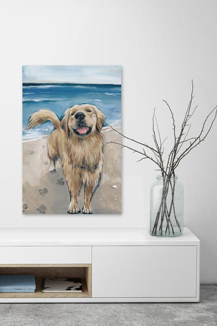 """Image of Marmont Hill Inc. Happy Doggie Painting Print on Wrapped Canvas - 12"""" x 8"""""""