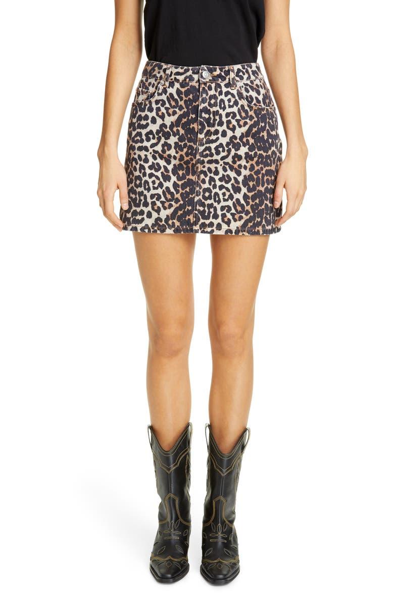 GANNI Leopard Print Denim Miniskirt, Main, color, LEOPARD