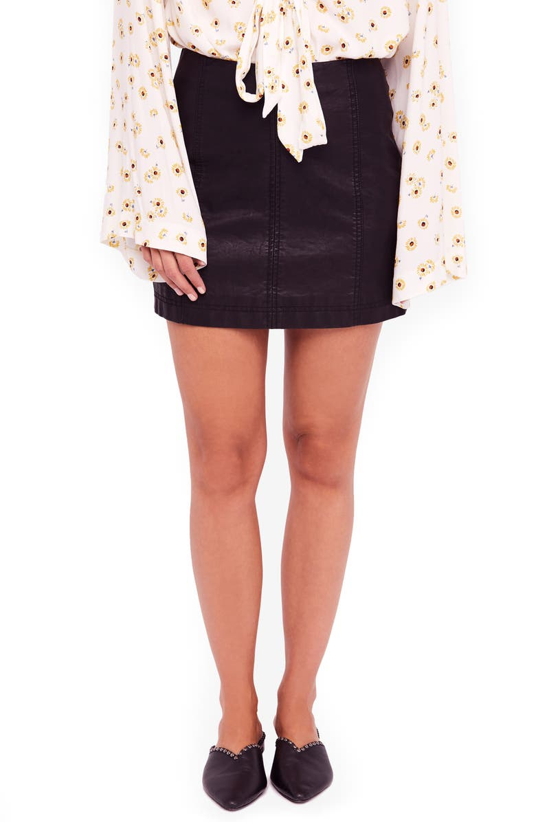 FREE PEOPLE Modern Femme Faux Leather Miniskirt, Main, color, BLACK