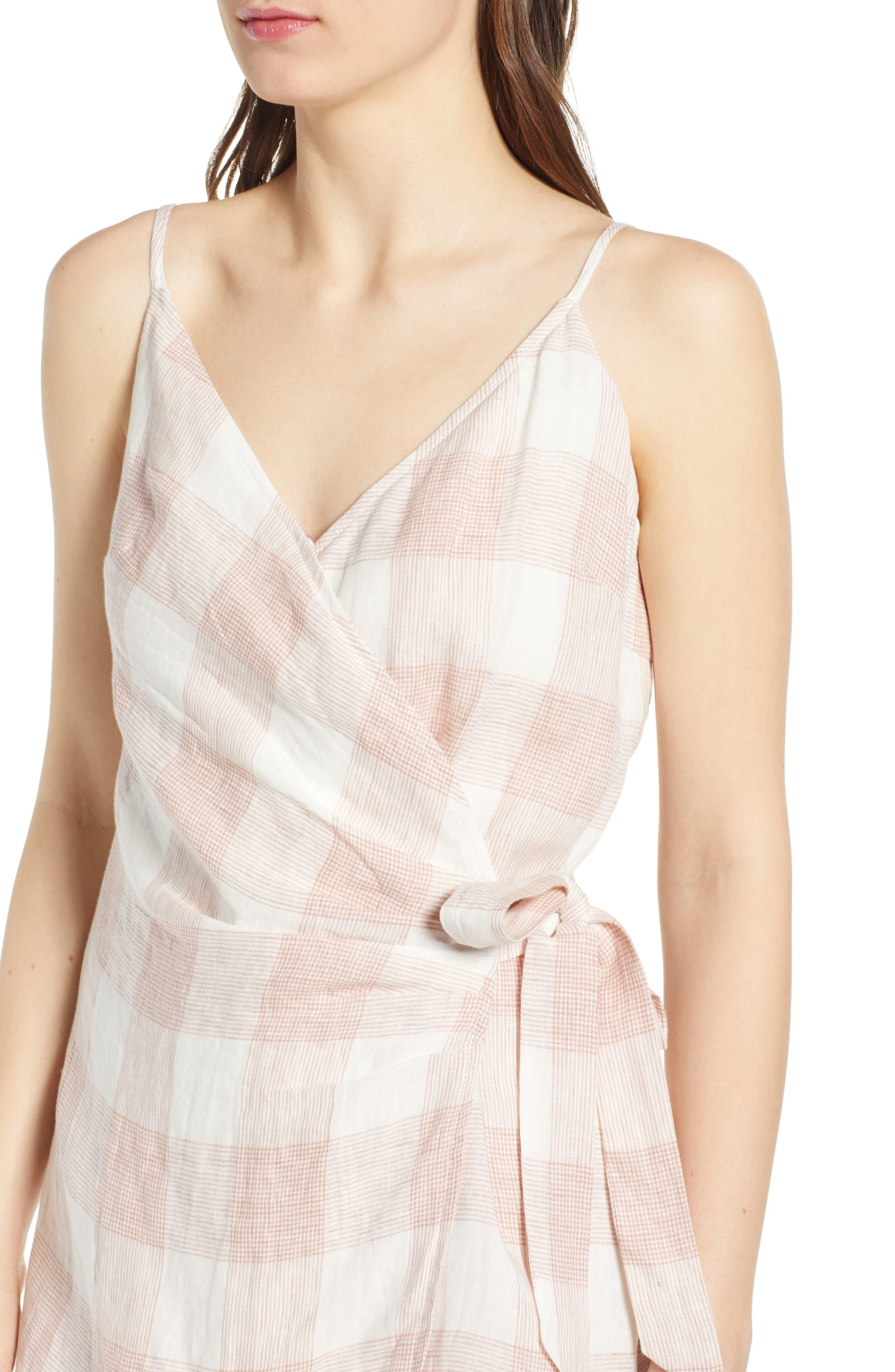 ,                             Whyatt Check Wrap Dress,                             Alternate thumbnail 5, color,                             CHECK