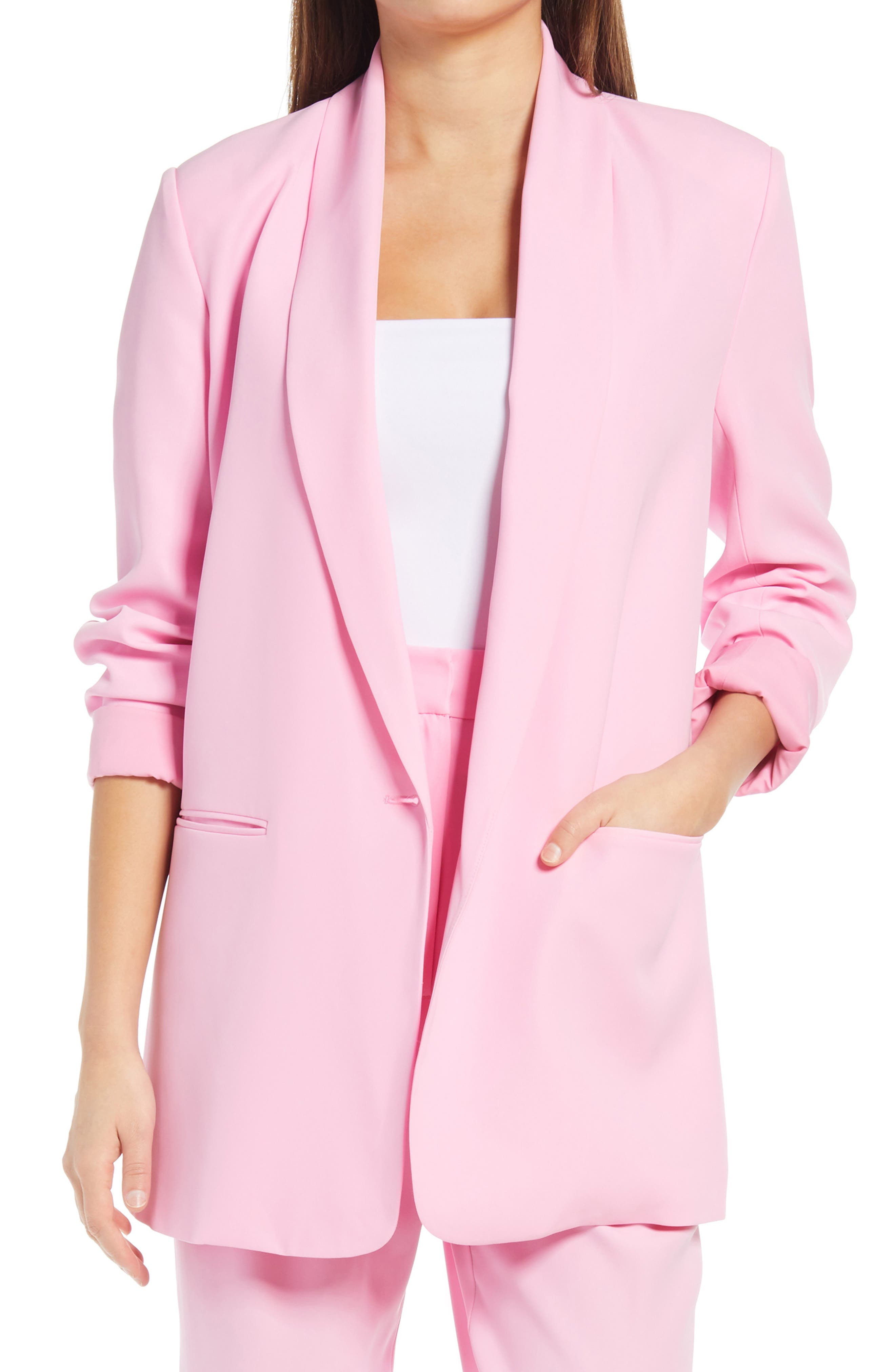 80s Windbreakers, Jackets, Coats Womens Wayf Jeanette Longline Blazer Size Medium - Pink $110.00 AT vintagedancer.com