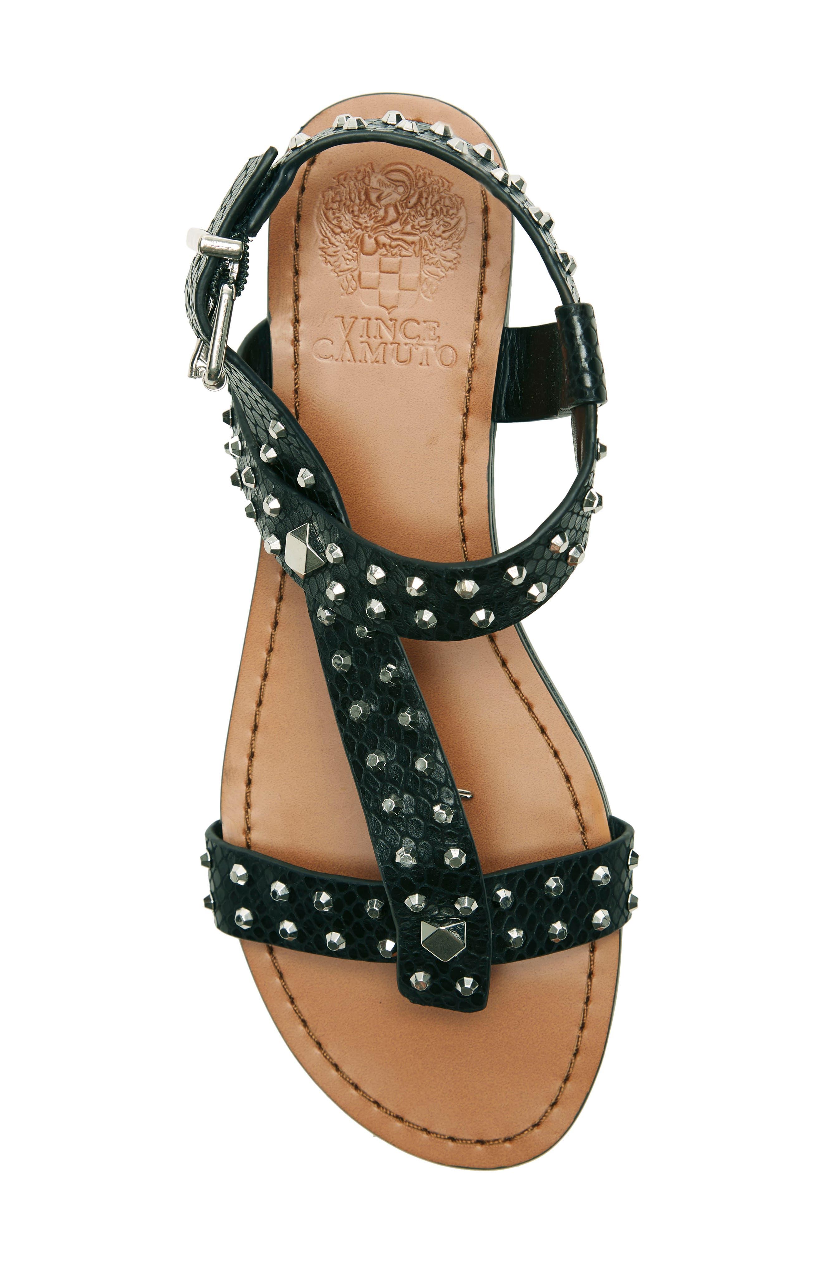 ,                             Ravensa Studded Sandal,                             Alternate thumbnail 5, color,                             BLACK LEATHER