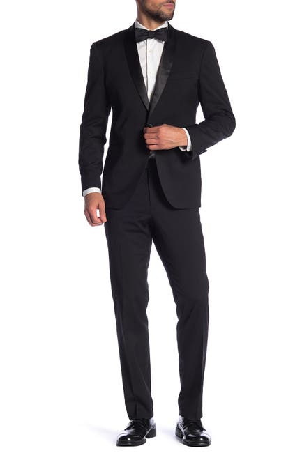 Image of Kenneth Cole Reaction Black Solid Two Button Notch Lapel Techni-Cole Slim Fit Tuxedo