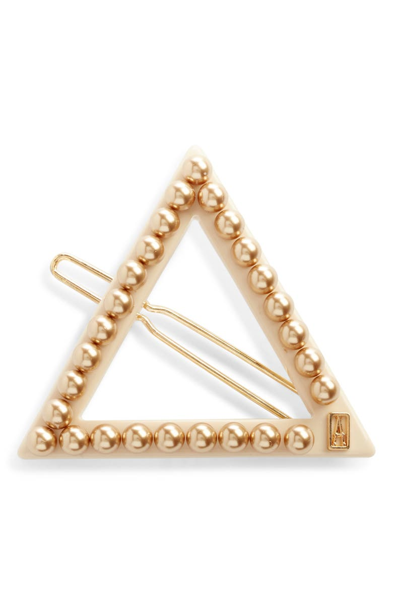 ALEXANDRE DE PARIS Triangle Side Barrette, Main, color, BEIGE
