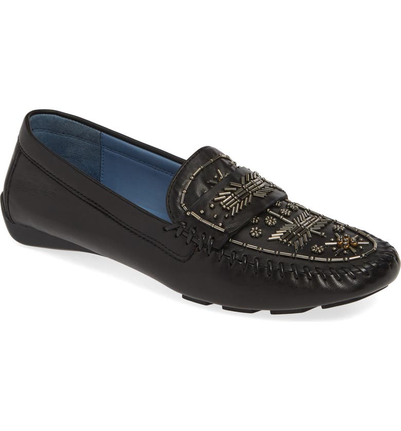 ROBERT ZUR Majorca Embellished Loafer, Main, color, BLACK TGLOVE