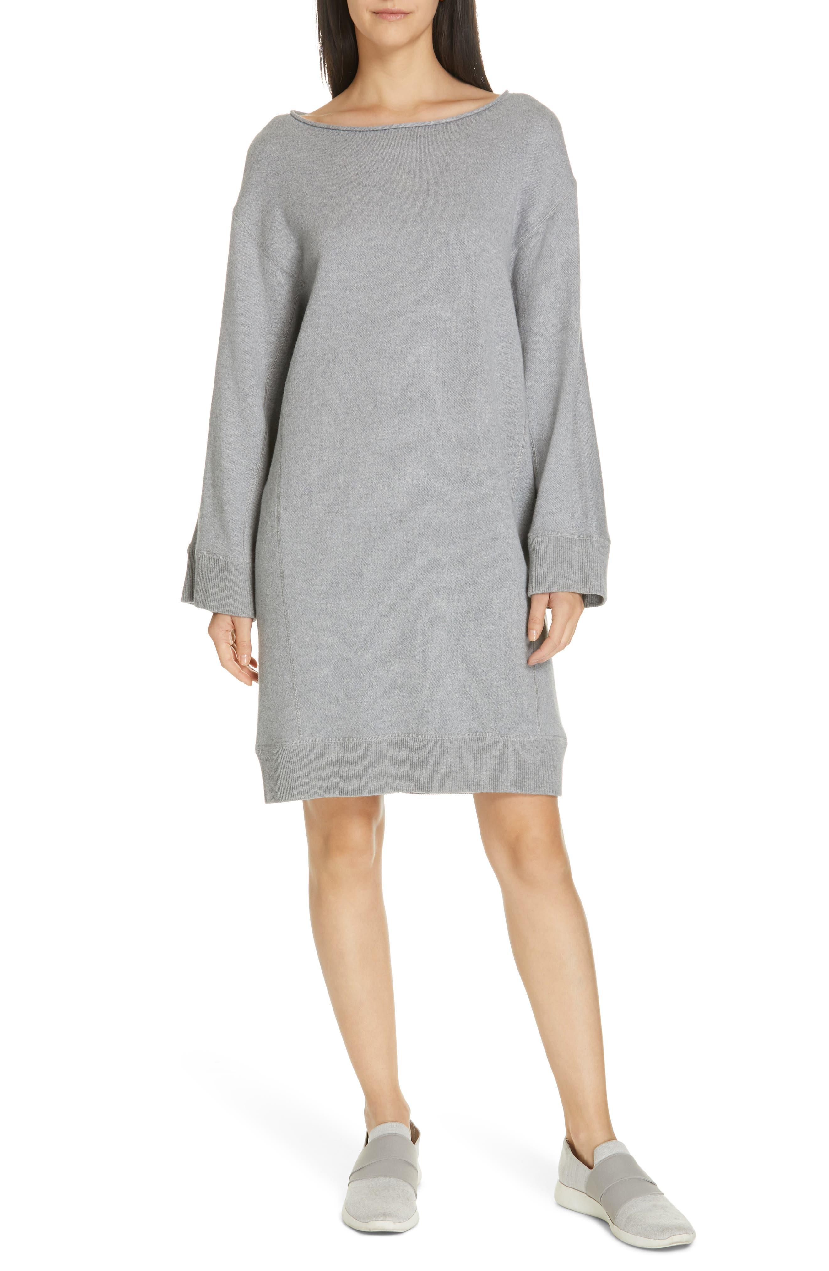 Cotton Terry Shift Dress, Main, color, H STEEL