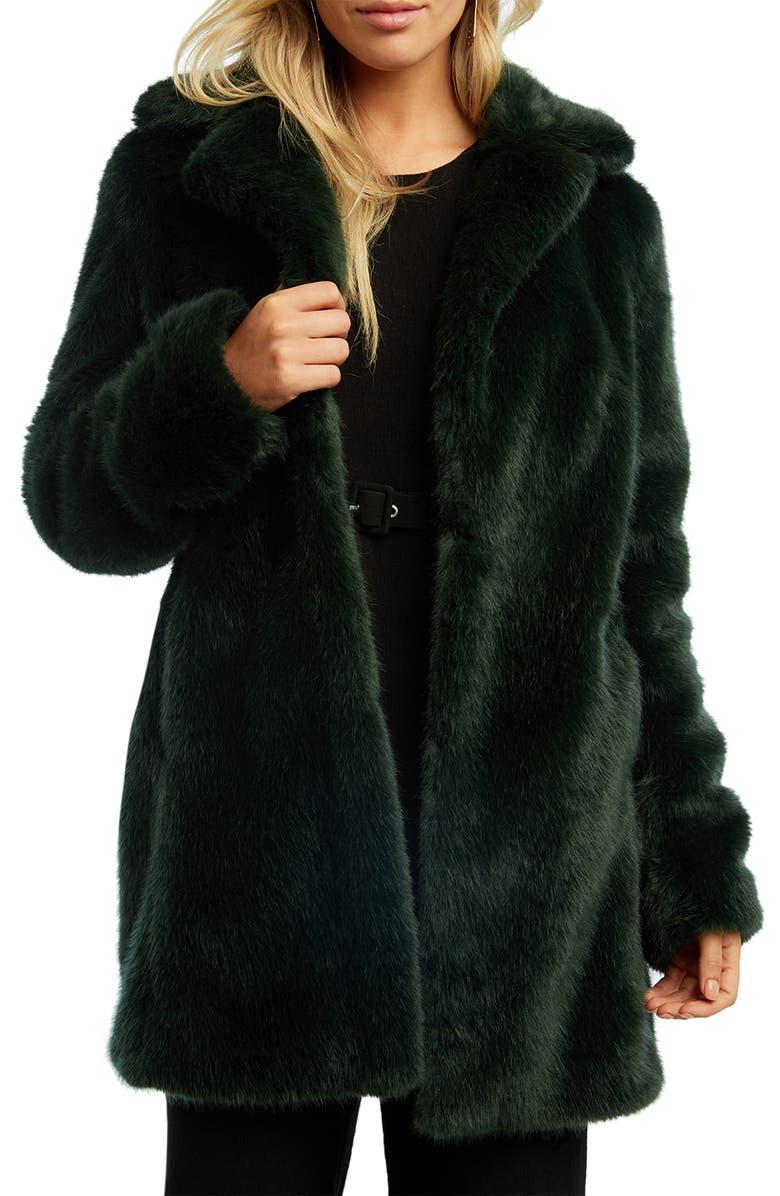 BARDOT Faux Fur Coat, Main, color, FOREST