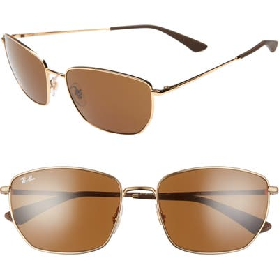Ray-Ban 60Mm Sunglasses - Gold/ Dark Brown Solid