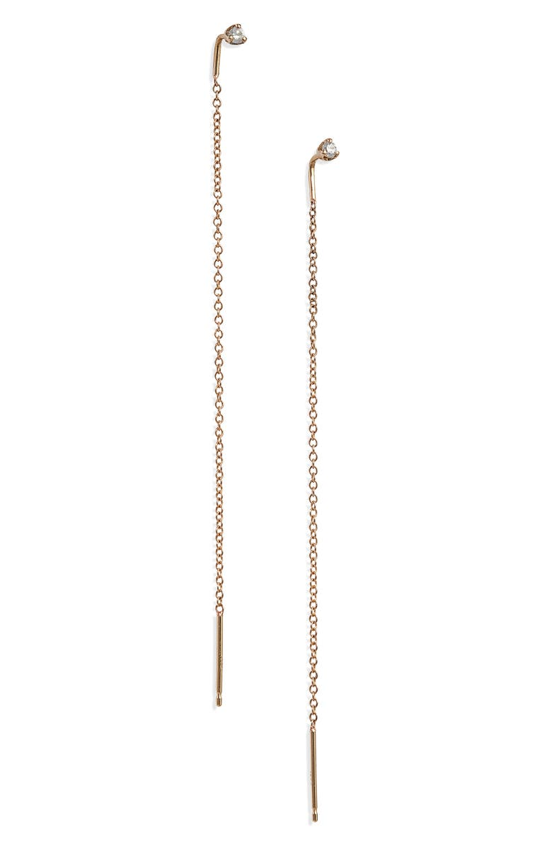 ZOË CHICCO Diamond Threader Earrings, Main, color, YELLOW GOLD