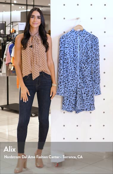 Marcella Leopard Print Long Sleeve Silk Minidress, sales video thumbnail