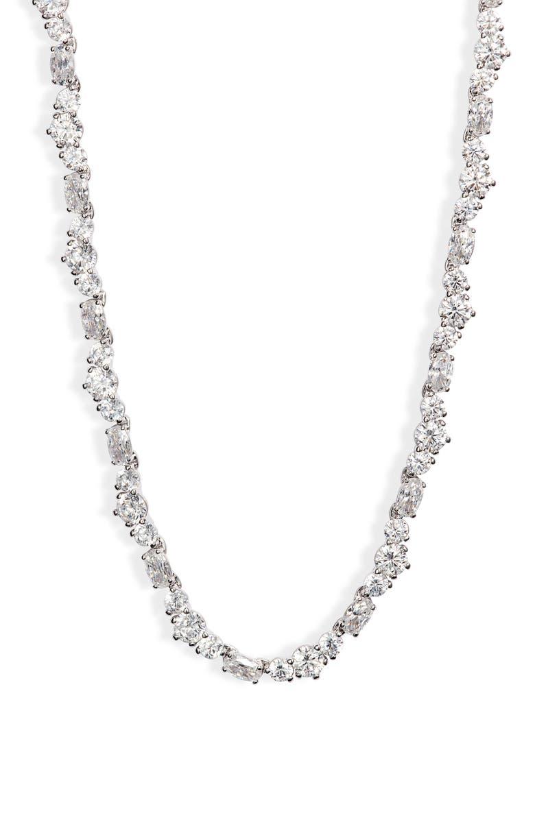 NADRI Mia Cubic Zirconia Necklace, Main, color, SILVER