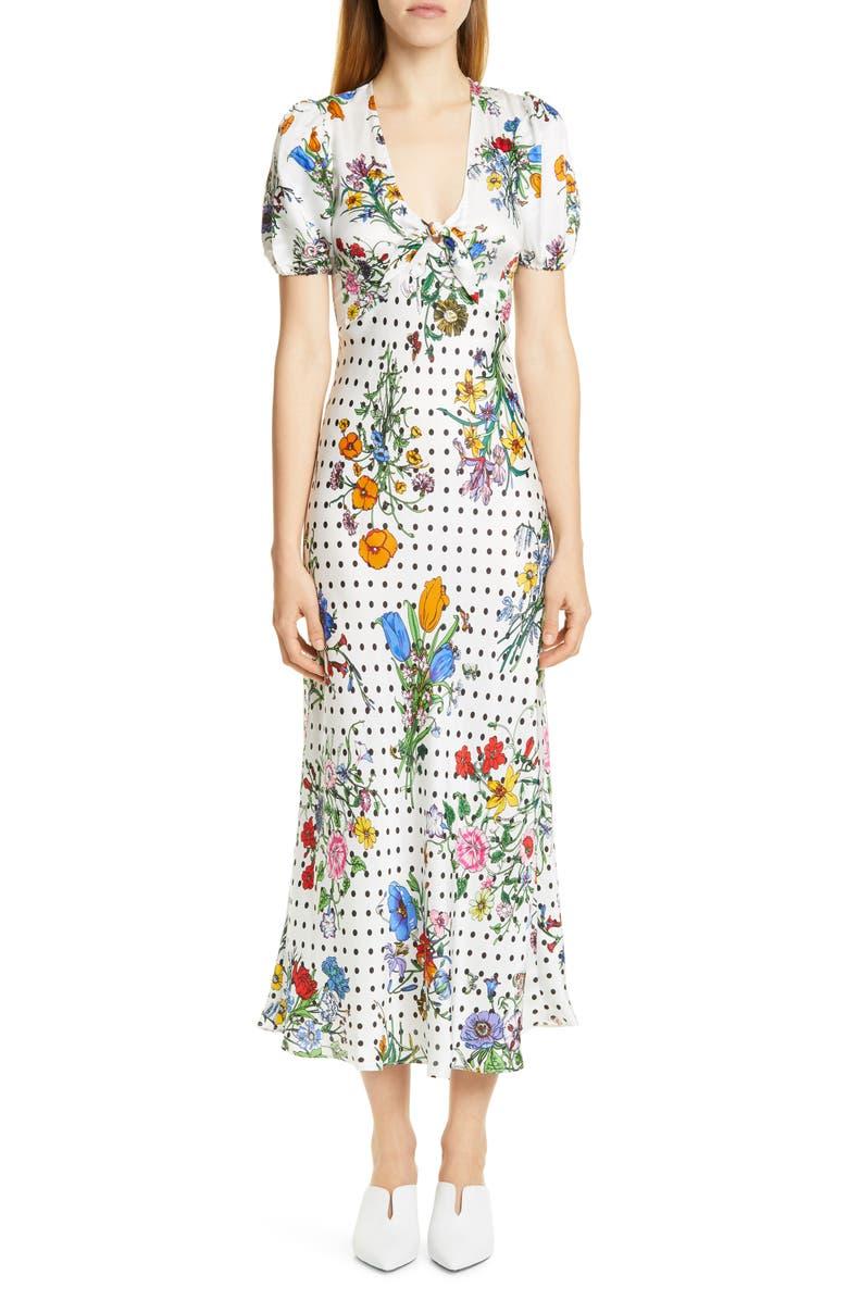 RIXO Star Floral & Polka Dot Print Dress, Main, color, 100