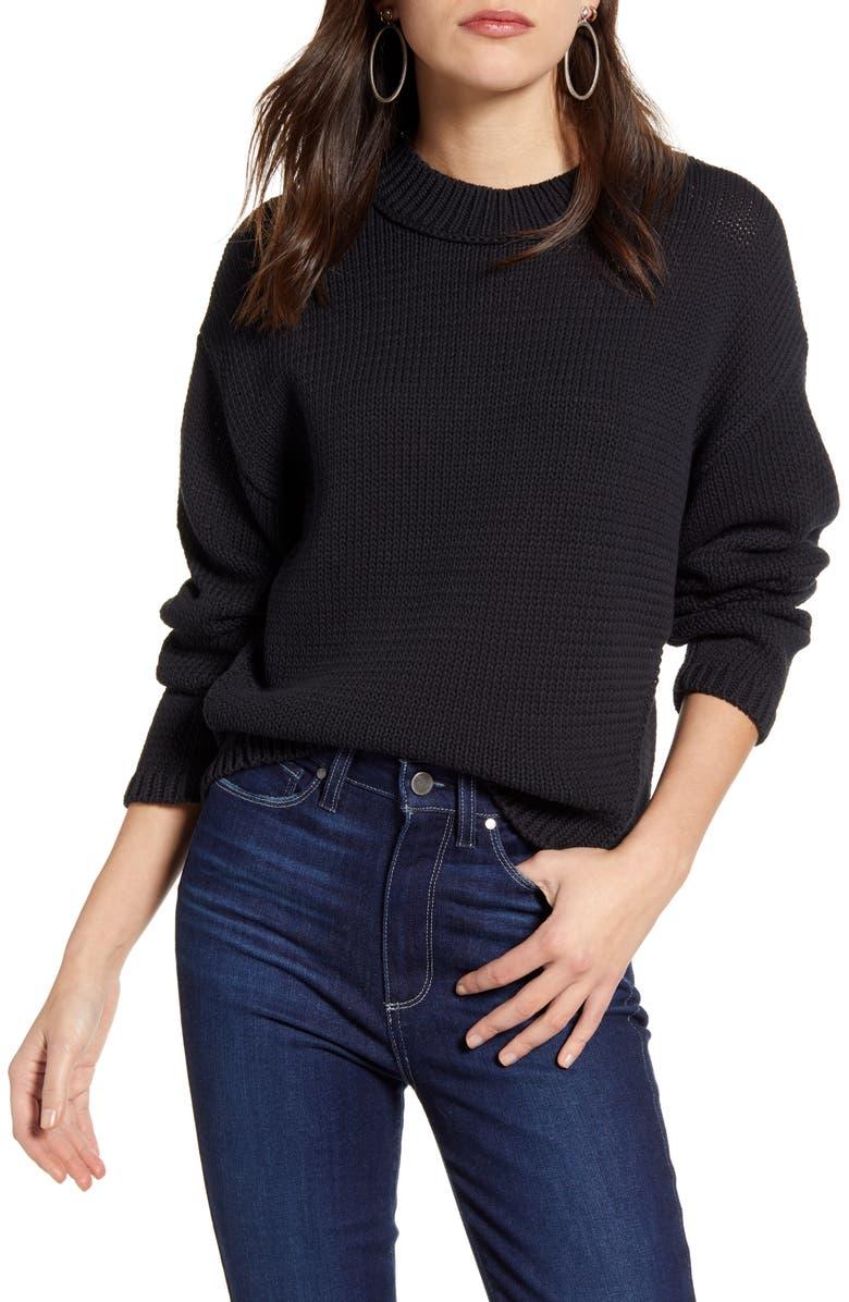 TREASURE & BOND Oversize Cotton Blend Sweater, Main, color, BLACK