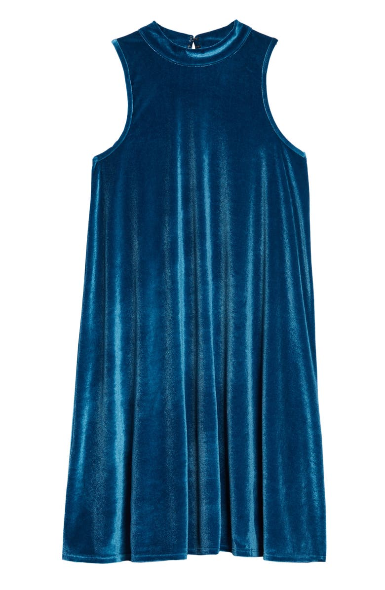TUCKER + TATE Velvet Swing Dress, Main, color, TEAL CORAL