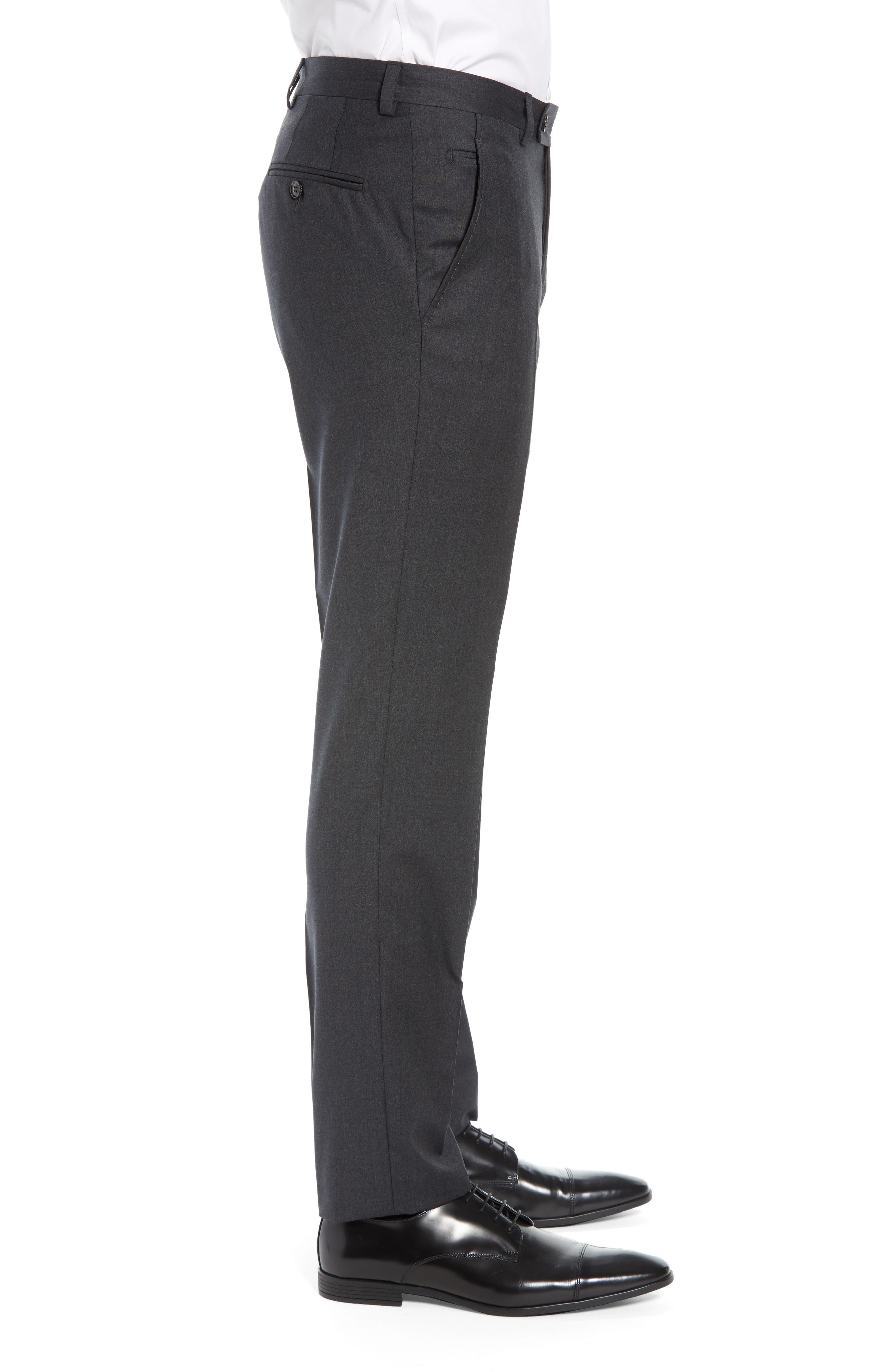 ,                             Jerome Flat Front Solid Wool Trousers,                             Alternate thumbnail 4, color,                             CHARCOAL