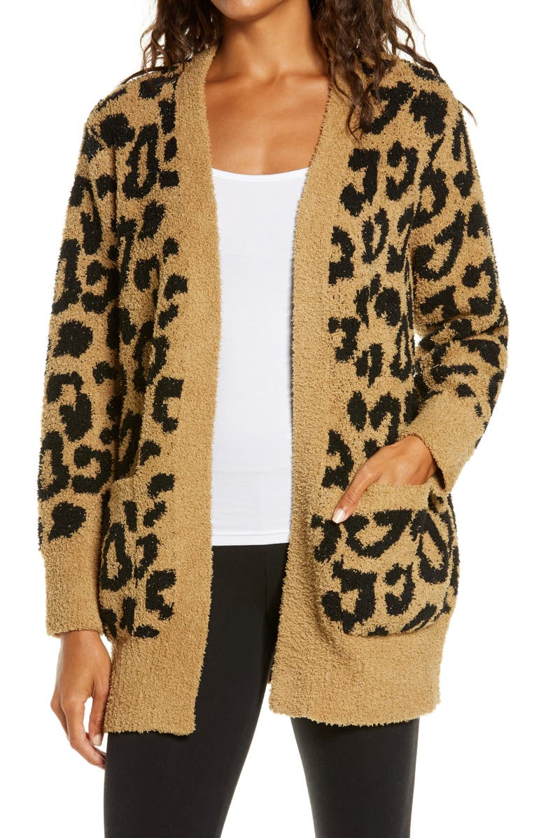 BAREFOOT DREAMS<SUP>®</SUP> CozyChic<sup>™</sup> Leopard Cardigan, Main, color, CAMEL BLACK