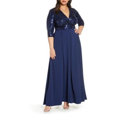 Plus Size Kiyonna Paris Sequin Bodice Gown, Blue