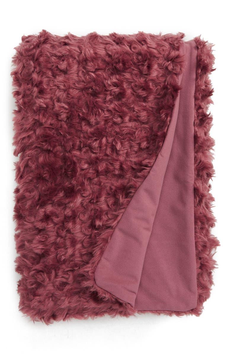 TREASURE & BOND Curly Faux Fur Throw, Main, color, BROWN ROSE