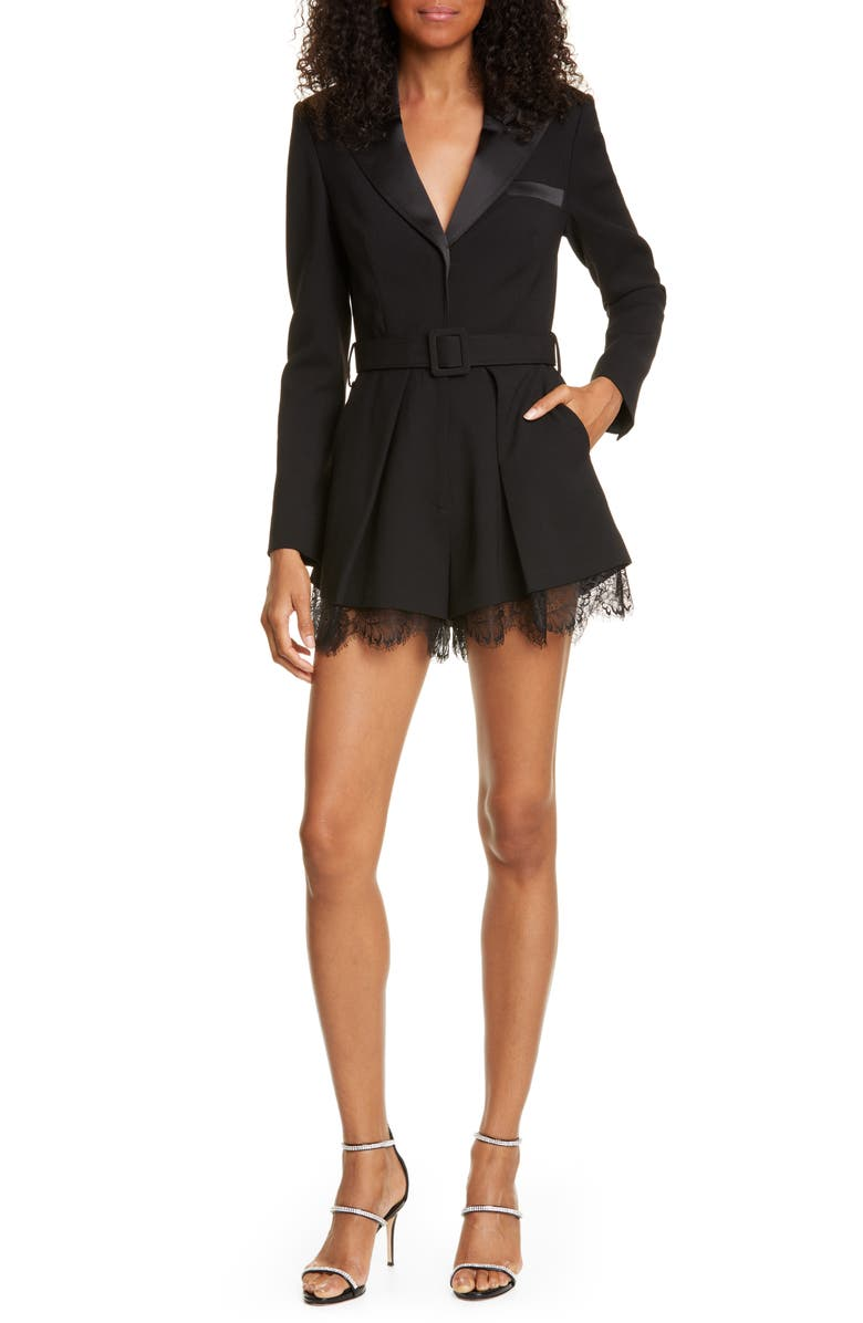 Long Sleeve Lace Trim Romper by Self Portrait