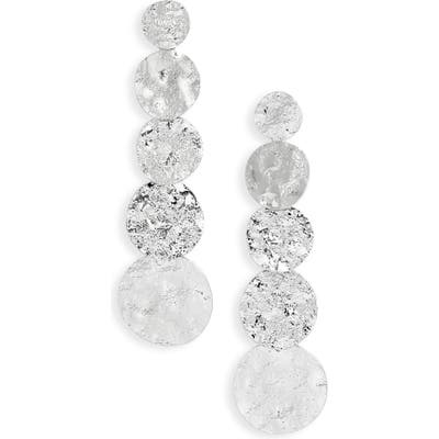 Sterling Forever Textured Disc Drop Earrings