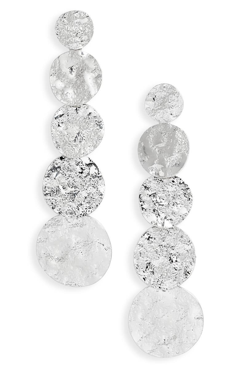 STERLING FOREVER Textured Disc Drop Earrings, Main, color, SILVER