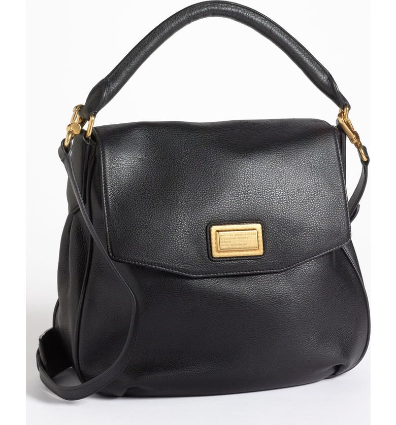 MARC JACOBS MARC BY MARC JACOBS Leather Flap Hobo, Main, color, 001