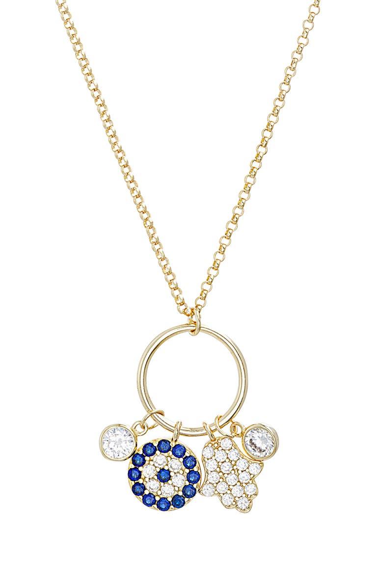 LESA MICHELE Hamsa Hand & Evil Eye Charm Necklace, Main, color, YELLOW GOLD