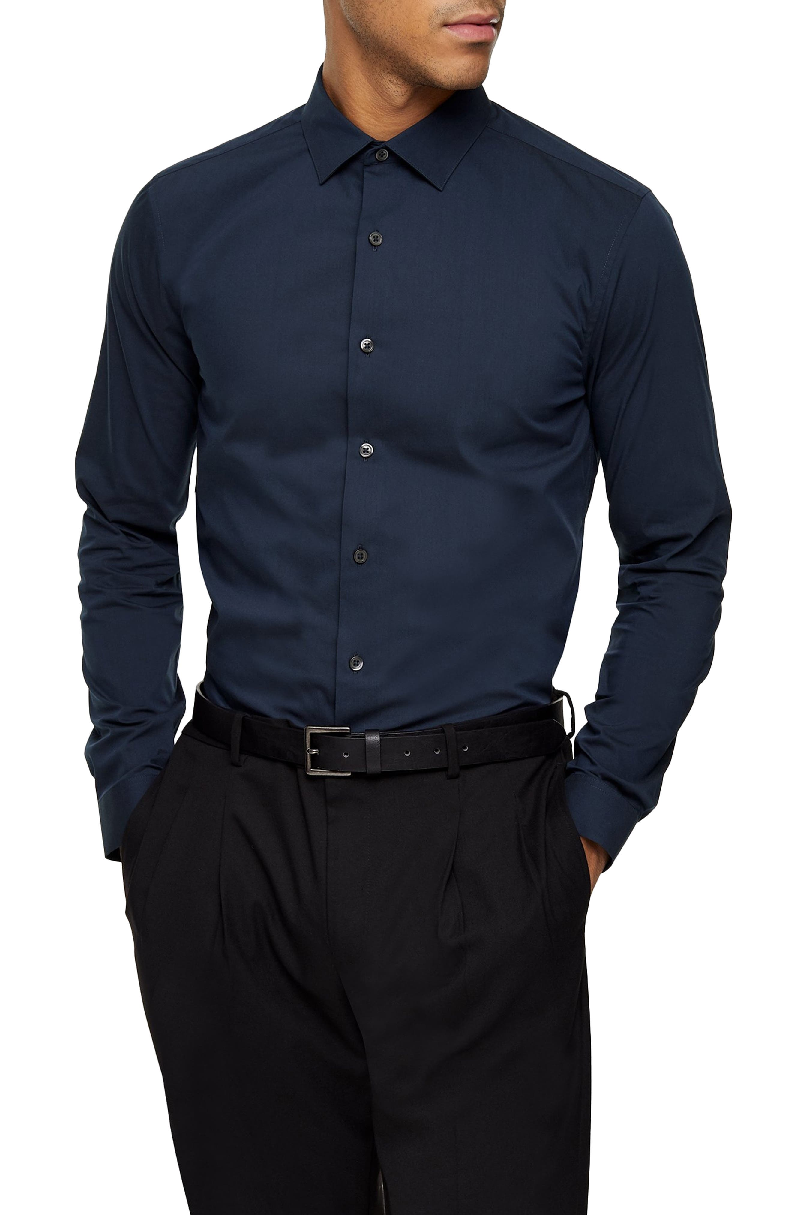 Image of TOPMAN Skinny Fit Stretch Button-Up Shirt